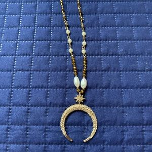 Long Crescent gypsy style necklace